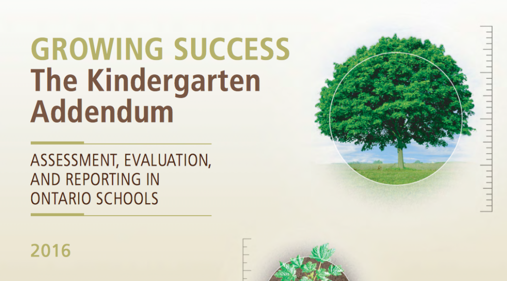 The Growing Success Kindergarten Addendum Curriculum Document for Ontario, Canada
