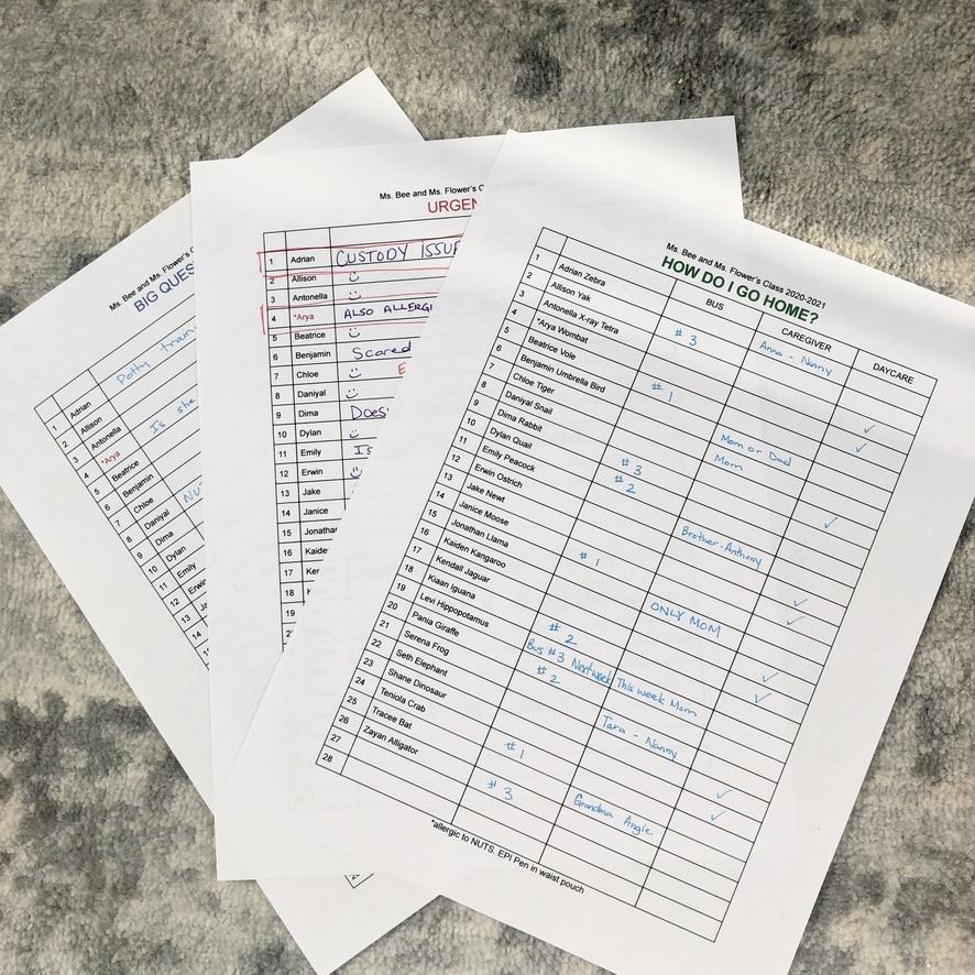 First Day of School lists for Kindergarten Teachers