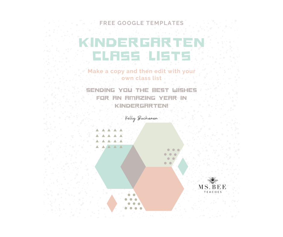 Free google templates for Kindergarten Class Lists