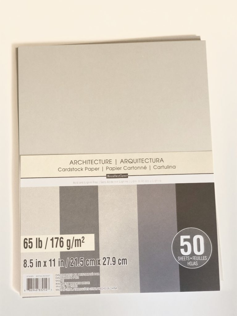 Card Stock from Michaels Craft Superstore.  Architecture Colour way package.