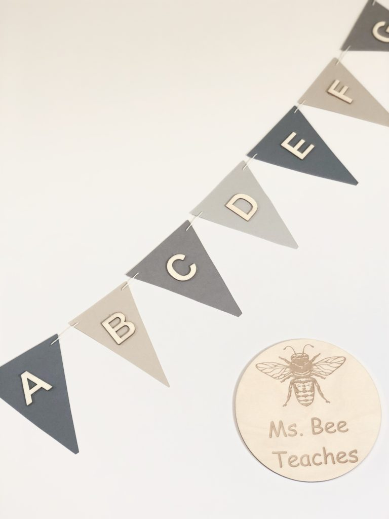 Close up view of alphabet garland, bunting or banner for Kindergarten classroom.