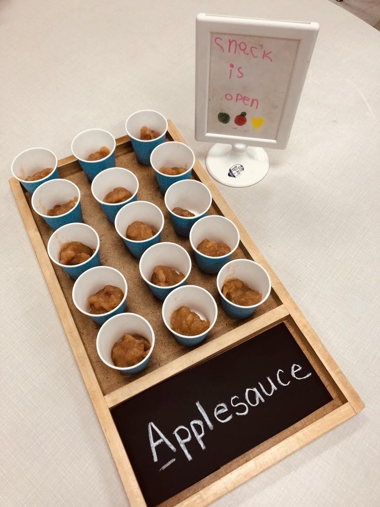 Class-made applesauce.