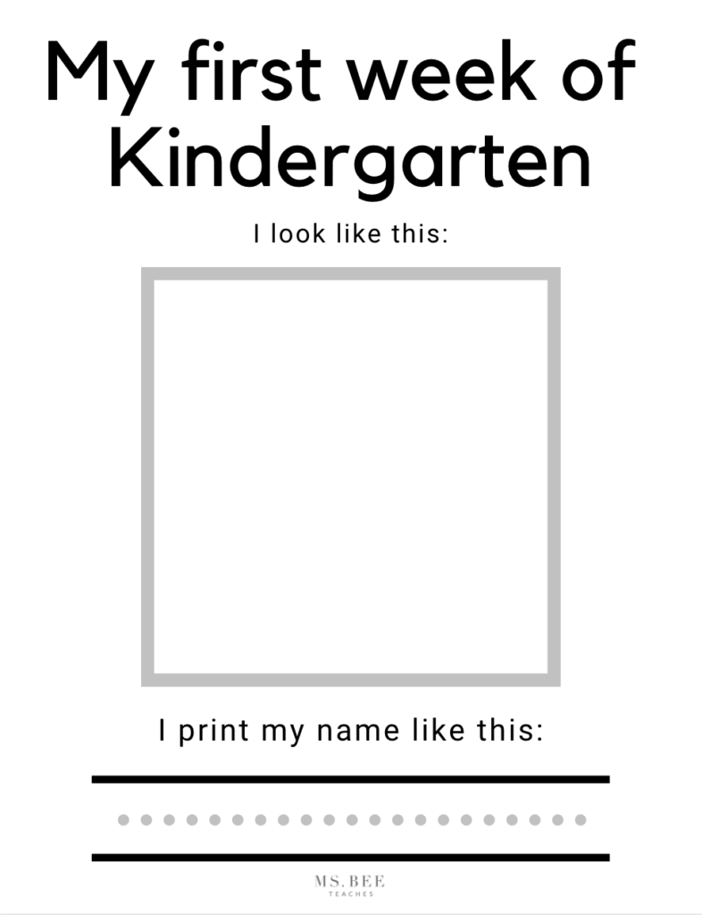 My first week of Kindergarten free printable classroom worksheet