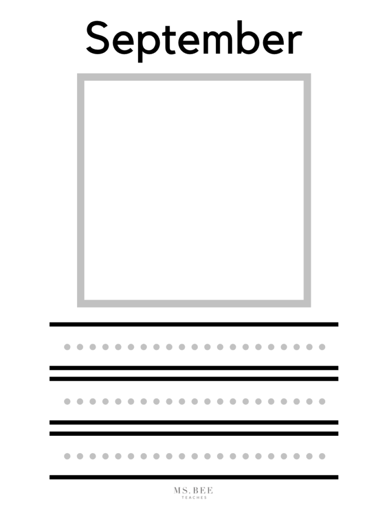 September Kindergarten Writing printable worksheet