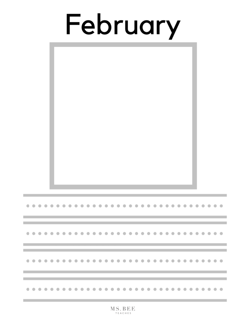 Monthly Kindergarten writing work sheets