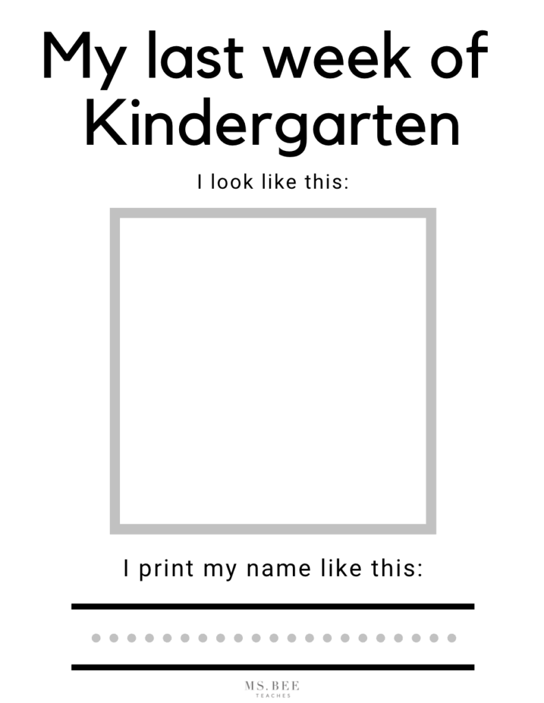 Last Week (Day) of Kindergarten printable free worksheet