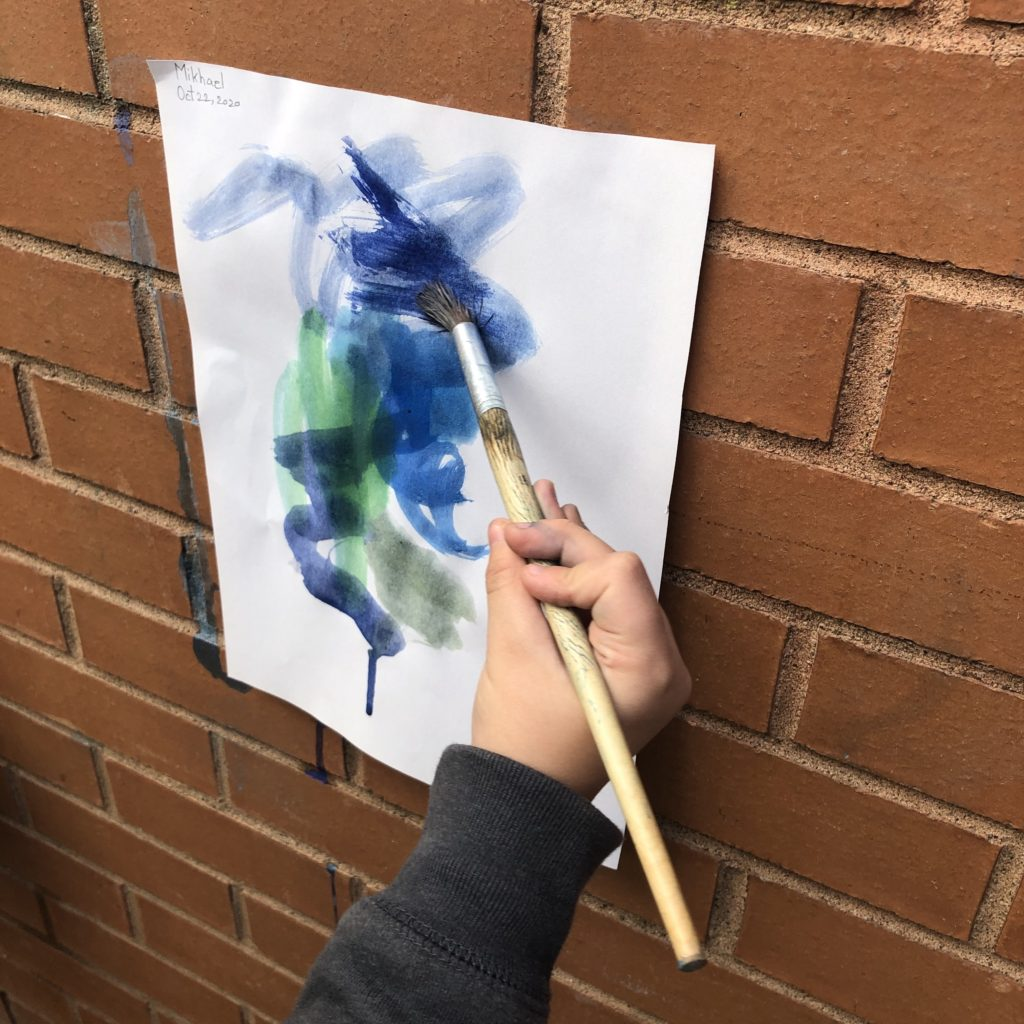 Our outdoor exploration centres included a painting centre where we painted insects.