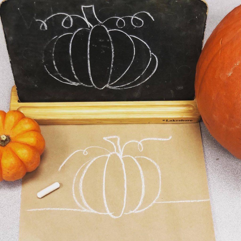 chalkboard pumpkin and kraft paper pumpkin